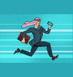 Arab businessman runs forward phone and briefcase vector