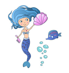 beautiful cute little siren mermaid with vector image