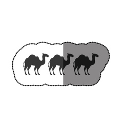 camels animals silhouettes concept vector image