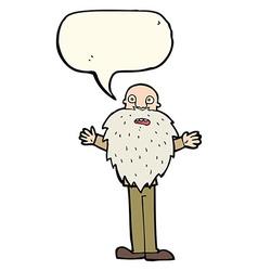 Cartoon bearded old man with speech bubble vector