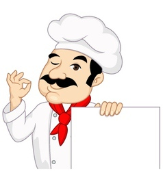 Chef with blank sign vector
