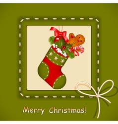 christmas card stocking vector image