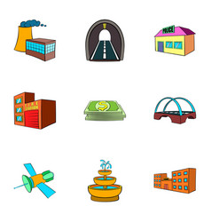 City objects icons set cartoon style vector
