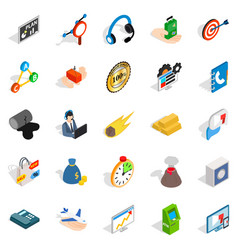 Conference icons set isometric style vector