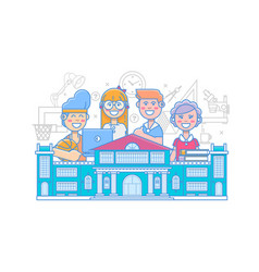 Cute school children school activities back to vector
