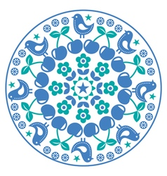 Finnish inspired round folk art pattern - scandina vector