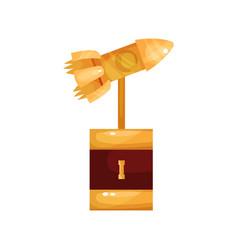 golden rocket award trophy statuette cartoon vector image vector image