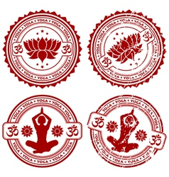 grunge yoga stamps vector image vector image