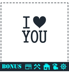 I love you icon flat vector image