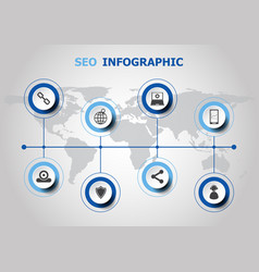 Infographic design with seo icons vector
