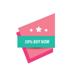 Label buy now and 3 star pink and green vector