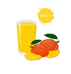 mango juice with mango and juicy slices vector image