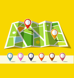 map icon with set of markers vector image
