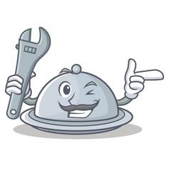 Mechanic tray character cartoon style vector