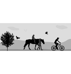 People walking in the park on a horse and bicycle vector