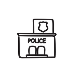 Police station sketch ico vector