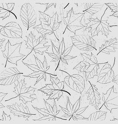seamless pattern with outline leaves monochrome vector image