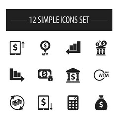 Set of 12 editable financial icons includes vector