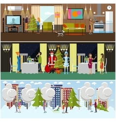 set of banners with New Years celebration vector image
