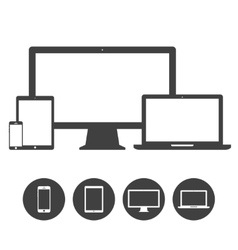 Set of display laptop tablet and mobile phones vector image vector image
