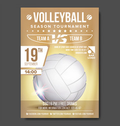 Volleyball poster banner advertising sand vector