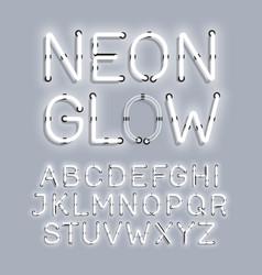 white neon glow alphabet vector image vector image