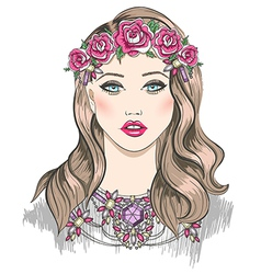 Young girl fashion Girl with flowers in her hair vector image vector image