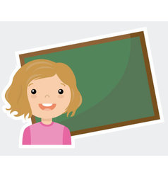 Girl with blackboard vector