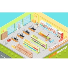 Supermarket departments interior 3d isometric shop vector