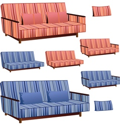 Sofa pink and blue stripped vector
