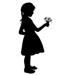 silhouette girl with flowers vector image