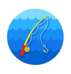 Fishing rod icon summer vacation vector