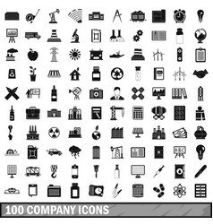 100 company icons set simple style vector image