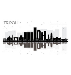 Tripoli city skyline black and white silhouette vector