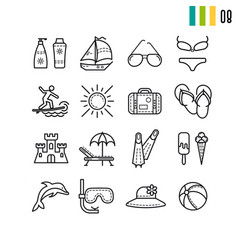 Outline summer icons set vector