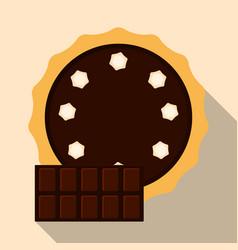 Homemade chocolate pie flat vector