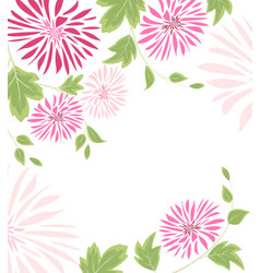 Background of pink flowers and leaves vector