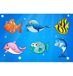 Colorful and smiling fishes under the sea vector