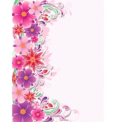 background with red and pink flowers vector image