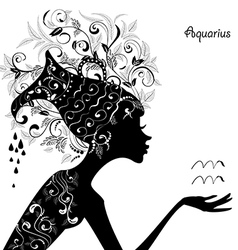 Zodiac sign aquarius fashion girl vector