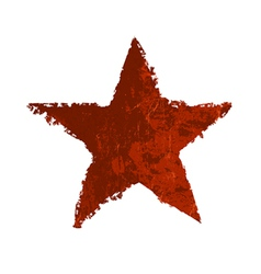 red star symbol grunge vector image