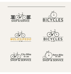 Set of simple logos for bicycles vector