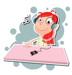 Girl listening to music vector