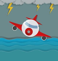 Airplane flying in the middle of storm vector