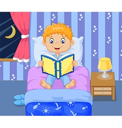 Cartoon lttle boy reading bed time story vector