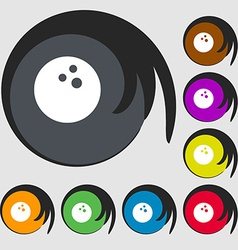 Bowling game ball icon symbols on eight colored vector