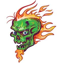 green skull sketch design on white background vector image