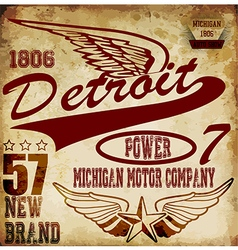 Vintage man t shirt graphic design about detroit vector