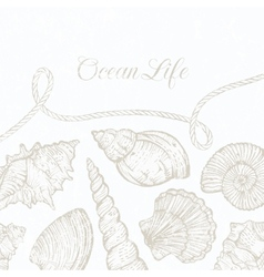 background with hand-drawn sea shells and vector image