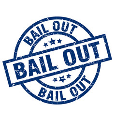 Bail out blue round grunge stamp vector